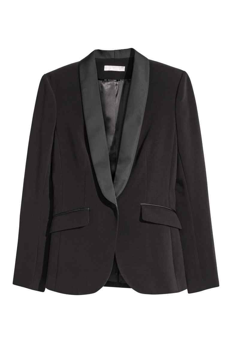 Tuxedo Jacket - pattern: plain; style: single breasted blazer; collar: shawl/waterfall; predominant colour: black; occasions: evening; length: standard; fit: tailored/fitted; fibres: polyester/polyamide - 100%; sleeve length: long sleeve; sleeve style: standard; texture group: crepes; collar break: medium; pattern type: fabric; season: a/w 2016; wardrobe: event