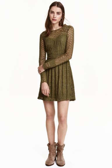 Lace Dress - style: shift; length: mid thigh; predominant colour: khaki; occasions: evening; fit: soft a-line; fibres: polyester/polyamide - 100%; neckline: crew; sleeve length: long sleeve; sleeve style: standard; texture group: lace; pattern type: fabric; pattern size: light/subtle; pattern: patterned/print; season: a/w 2016; wardrobe: event