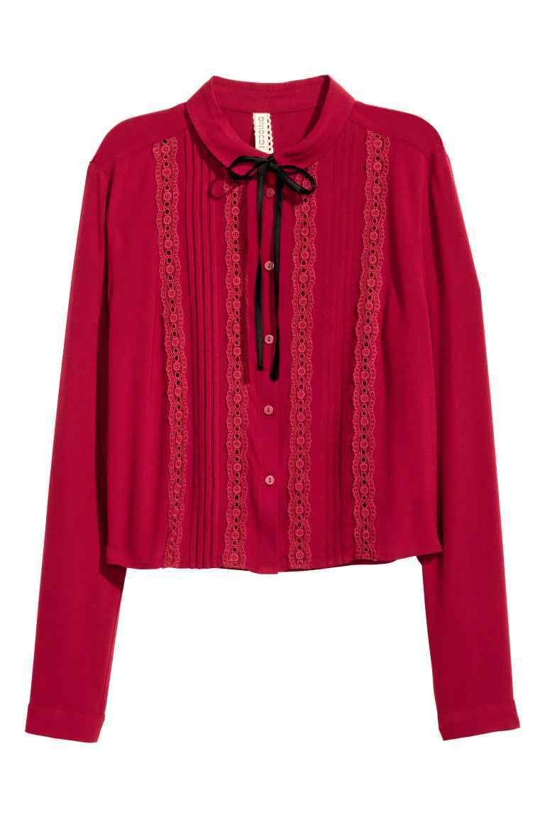 Blouse With Pin Tucks - pattern: plain; neckline: pussy bow; style: blouse; predominant colour: true red; length: standard; fibres: viscose/rayon - 100%; fit: straight cut; sleeve length: long sleeve; sleeve style: standard; pattern type: fabric; pattern size: standard; texture group: woven light midweight; embellishment: lace; occasions: creative work; season: a/w 2016; wardrobe: highlight