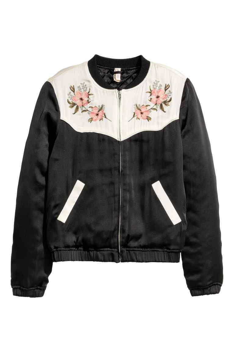 Embroidered Bomber Jacket - collar: round collar/collarless; style: bomber; secondary colour: ivory/cream; predominant colour: black; occasions: casual, creative work; length: standard; fit: straight cut (boxy); fibres: polyester/polyamide - 100%; sleeve length: long sleeve; sleeve style: standard; texture group: silky - light; collar break: high; pattern type: fabric; pattern size: standard; pattern: colourblock; embellishment: embroidered; season: a/w 2016; wardrobe: highlight; embellishment location: bust
