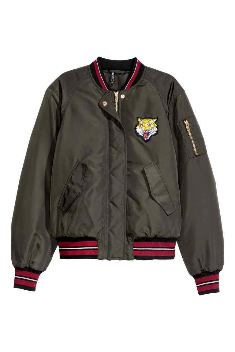 Bomber Jacket - collar: round collar/collarless; sleeve style: balloon; style: bomber; secondary colour: true red; predominant colour: khaki; occasions: casual; length: standard; fit: straight cut (boxy); fibres: polyester/polyamide - 100%; sleeve length: long sleeve; collar break: high; pattern type: fabric; pattern size: standard; pattern: patterned/print; texture group: other - bulky/heavy; embellishment: embroidered; season: a/w 2016; wardrobe: highlight; embellishment location: bust