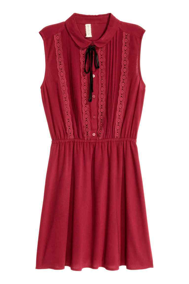 Sleeveless Dress - style: shirt; length: mid thigh; neckline: shirt collar/peter pan/zip with opening; fit: fitted at waist; pattern: plain; sleeve style: sleeveless; predominant colour: true red; occasions: casual, creative work; fibres: polyester/polyamide - 100%; sleeve length: sleeveless; pattern type: fabric; pattern size: standard; texture group: other - light to midweight; season: a/w 2016; wardrobe: highlight
