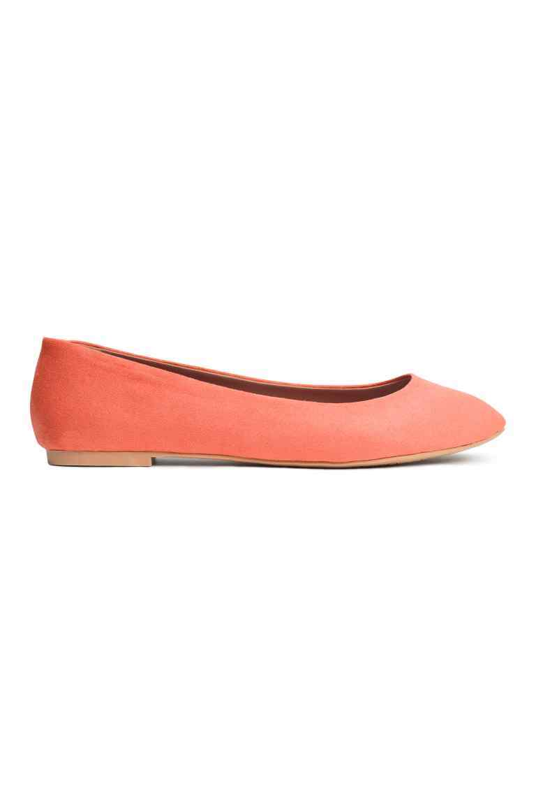 Ballet Pumps - predominant colour: coral; occasions: casual, creative work; material: fabric; heel height: flat; toe: round toe; style: ballerinas / pumps; finish: plain; pattern: plain; season: a/w 2016; wardrobe: highlight