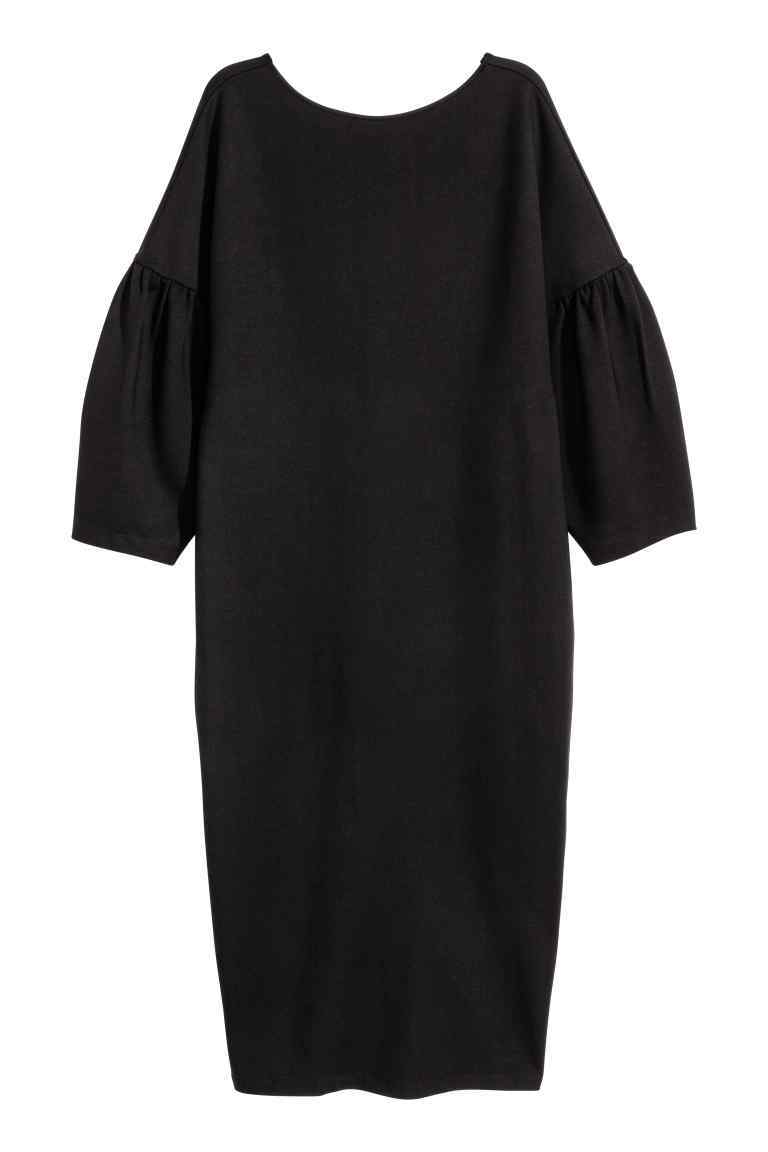 + Dress With Puff Sleeves - style: shift; length: calf length; sleeve style: puffed; pattern: plain; predominant colour: black; occasions: evening; fit: straight cut; fibres: viscose/rayon - stretch; neckline: crew; sleeve length: 3/4 length; texture group: crepes; pattern type: fabric; season: a/w 2016; wardrobe: event