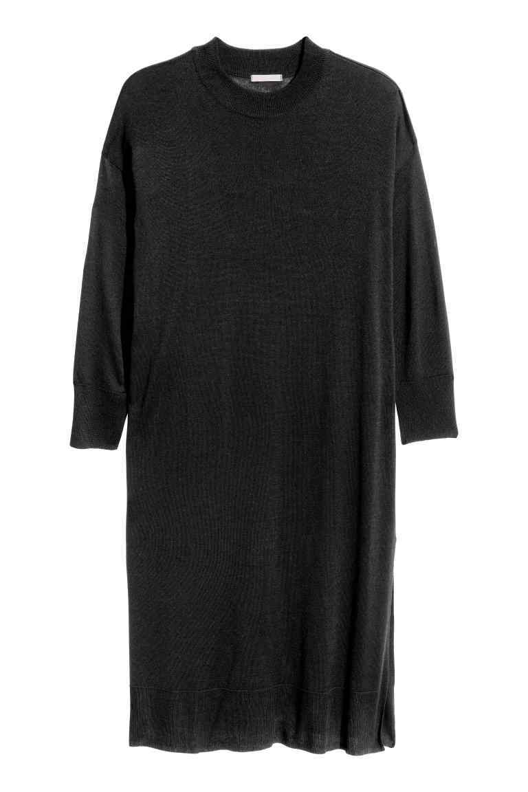 + Fine Knit Tunic - pattern: plain; neckline: high neck; style: tunic; predominant colour: black; occasions: casual, creative work; fibres: acrylic - mix; fit: loose; length: mid thigh; sleeve length: 3/4 length; sleeve style: standard; texture group: knits/crochet; pattern type: knitted - fine stitch; wardrobe: basic; season: a/w 2016