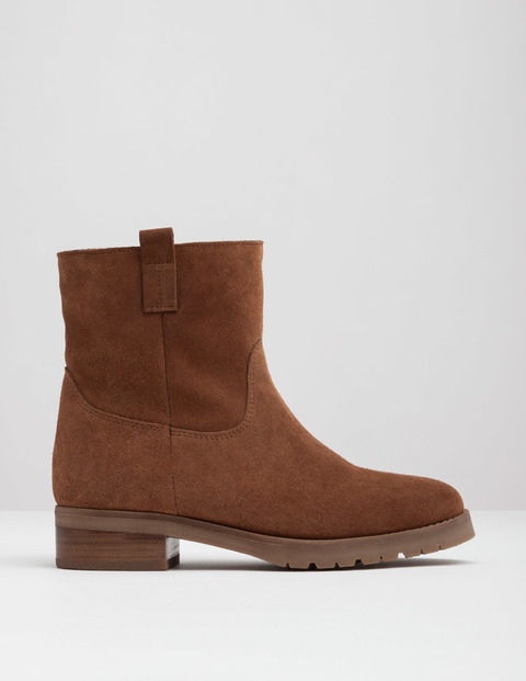 Sherpa Boot Tan Women, Tan - predominant colour: chocolate brown; occasions: casual; material: leather; heel height: flat; heel: block; toe: round toe; boot length: ankle boot; style: standard; finish: plain; pattern: plain; wardrobe: basic; season: a/w 2016