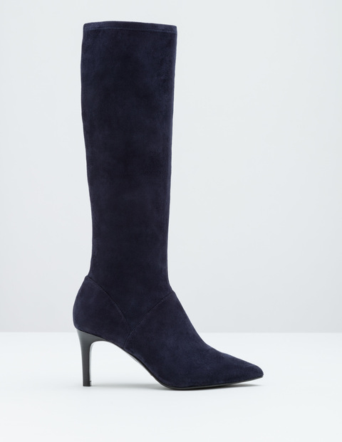 Pointed Stretch Boot Navy Women, Navy - predominant colour: navy; occasions: casual, creative work; material: suede; heel height: high; heel: stiletto; toe: pointed toe; boot length: knee; style: standard; finish: plain; pattern: plain; wardrobe: investment; season: a/w 2016