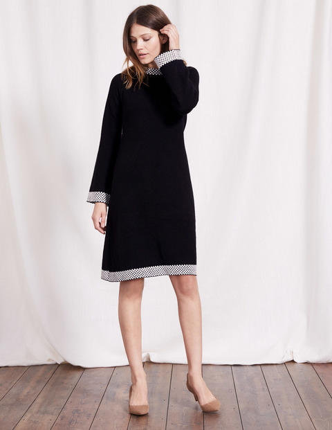 Claudie Knitted Dress Black/Ivory Women, Black/Ivory - style: jumper dress; sleeve style: angel/waterfall; neckline: high neck; secondary colour: light grey; predominant colour: black; occasions: casual; length: just above the knee; fit: soft a-line; fibres: wool - mix; sleeve length: long sleeve; texture group: knits/crochet; pattern type: knitted - fine stitch; pattern: colourblock; season: a/w 2016