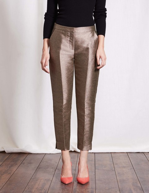 Metallic 7/8 Party Trouser Gold Metallic Women, Gold Metallic - pattern: plain; style: peg leg; waist: mid/regular rise; predominant colour: gold; occasions: evening; length: ankle length; fibres: polyester/polyamide - 100%; texture group: structured shiny - satin/tafetta/silk etc.; fit: tapered; pattern type: fabric; season: a/w 2016; wardrobe: event