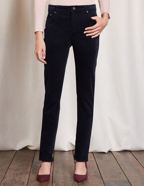 Velvet Jean Navy Women, Navy - style: skinny leg; length: standard; pattern: plain; waist: high rise; pocket detail: traditional 5 pocket; predominant colour: navy; occasions: casual, creative work; fibres: cotton - stretch; pattern type: fabric; texture group: velvet/fabrics with pile; season: a/w 2016; wardrobe: highlight