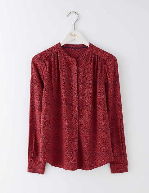 Paula Popover Beatnik Red Ditsy Spot Women, Beatnik Red Ditsy Spot - style: blouse; pattern: polka dot; predominant colour: burgundy; occasions: casual; length: standard; neckline: collarstand; fibres: viscose/rayon - 100%; fit: straight cut; sleeve length: long sleeve; sleeve style: standard; texture group: sheer fabrics/chiffon/organza etc.; pattern type: fabric; season: a/w 2016; wardrobe: highlight