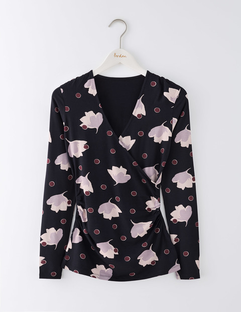 Long Sleeve Wrap Jersey Top Black Floral Spot Women, Black Floral Spot - neckline: v-neck; style: wrap/faux wrap; secondary colour: blush; predominant colour: black; occasions: casual, creative work; length: standard; fibres: viscose/rayon - stretch; fit: body skimming; sleeve length: long sleeve; sleeve style: standard; pattern type: fabric; pattern size: standard; pattern: florals; texture group: jersey - stretchy/drapey; multicoloured: multicoloured; season: a/w 2016; wardrobe: highlight
