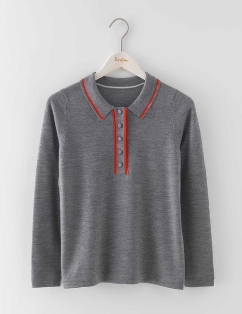 Jemima Jumper Grey Melange/Rosehip Women, Grey Melange/Rosehip - neckline: shirt collar/peter pan/zip with opening; style: standard; secondary colour: true red; predominant colour: mid grey; occasions: casual, creative work; length: standard; fibres: wool - 100%; fit: slim fit; sleeve length: long sleeve; sleeve style: standard; texture group: knits/crochet; pattern type: knitted - fine stitch; pattern size: light/subtle; pattern: colourblock; season: a/w 2016; wardrobe: highlight