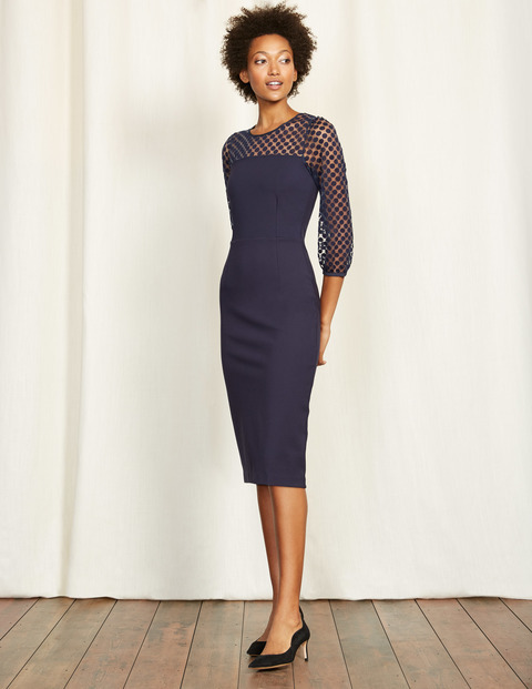 Electra Ponte Dress Navy Women, Navy - length: below the knee; fit: tight; pattern: plain; style: bodycon; bust detail: sheer at bust; predominant colour: navy; occasions: evening; fibres: viscose/rayon - stretch; neckline: crew; sleeve length: 3/4 length; sleeve style: standard; texture group: jersey - clingy; pattern type: fabric; season: a/w 2016