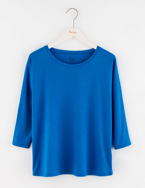 Supersoft Oversized Tee Prussian Blue Women, Prussian Blue - pattern: plain; style: t-shirt; predominant colour: diva blue; occasions: casual; length: standard; fibres: cotton - 100%; fit: loose; neckline: crew; sleeve length: 3/4 length; sleeve style: standard; pattern type: fabric; texture group: jersey - stretchy/drapey; season: a/w 2016