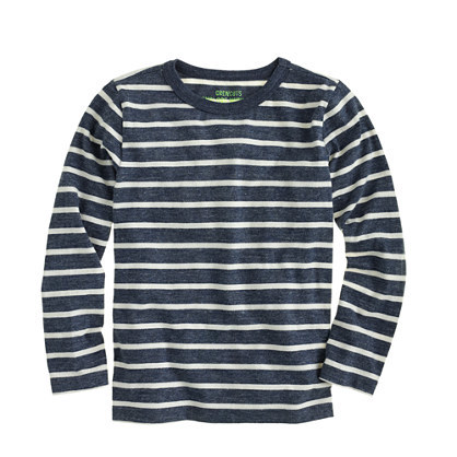 Boys' Long Sleeve Sailor Stripe Tee - pattern: horizontal stripes; style: t-shirt; secondary colour: white; predominant colour: navy; occasions: casual; length: standard; fibres: cotton - 100%; fit: body skimming; neckline: crew; sleeve length: long sleeve; sleeve style: standard; pattern type: fabric; texture group: jersey - stretchy/drapey; multicoloured: multicoloured; wardrobe: basic; season: a/w 2016