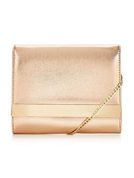 Mini Shoulder Chain Metallic Clutch Bag - predominant colour: gold; occasions: evening, occasion; type of pattern: standard; style: clutch; length: across body/long; size: standard; material: faux leather; pattern: plain; finish: metallic; season: a/w 2016; wardrobe: event