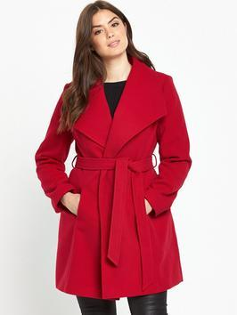 Belted Fit And Flare - pattern: plain; collar: wide lapels; fit: loose; style: wrap around; length: mid thigh; predominant colour: true red; occasions: casual; fibres: acrylic - 100%; waist detail: belted waist/tie at waist/drawstring; sleeve length: long sleeve; sleeve style: standard; collar break: medium; pattern type: fabric; texture group: woven bulky/heavy; season: a/w 2016; wardrobe: highlight