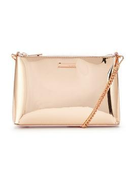 Metallic Shoulder Chain Clutch Rose Gold - predominant colour: gold; occasions: evening, occasion; type of pattern: standard; style: clutch; length: hand carry; size: standard; material: faux leather; pattern: plain; finish: metallic; season: a/w 2016; wardrobe: event