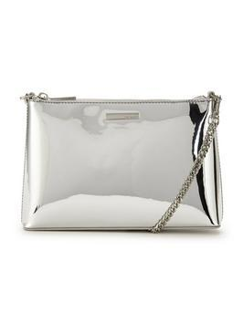 Metallic Shoulder Chain Clutch Silver - predominant colour: silver; occasions: evening, occasion; type of pattern: standard; style: clutch; length: hand carry; size: small; material: faux leather; pattern: plain; finish: metallic; embellishment: chain/metal; season: a/w 2016; wardrobe: event