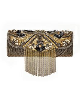Embellished Tassel Clutch Bag Gold - predominant colour: gold; secondary colour: black; occasions: evening, occasion; type of pattern: standard; style: clutch; length: hand carry; size: standard; material: fabric; embellishment: beading; pattern: plain; finish: metallic; season: a/w 2016; wardrobe: event