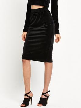 Velvet Bodycon Midi Skirt Black - pattern: plain; fit: tight; waist detail: elasticated waist; waist: high rise; hip detail: draws attention to hips; predominant colour: black; occasions: evening; length: on the knee; fibres: polyester/polyamide - stretch; style: tube; pattern type: fabric; texture group: velvet/fabrics with pile; season: a/w 2016; wardrobe: event; trends: velvet