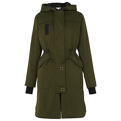 Jensen Hooded Parka, Khaki - pattern: plain; fit: loose; style: parka; collar: high neck; length: mid thigh; predominant colour: khaki; occasions: casual; fibres: polyester/polyamide - 100%; waist detail: belted waist/tie at waist/drawstring; sleeve length: long sleeve; sleeve style: standard; collar break: high; pattern type: fabric; texture group: woven bulky/heavy; wardrobe: basic; season: a/w 2016