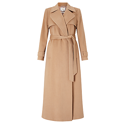 Cashmere Trench Coat, Light Camel - pattern: plain; collar: wide lapels; style: trench coat; fit: slim fit; hip detail: fitted at hip; length: calf length; predominant colour: camel; occasions: casual; waist detail: belted waist/tie at waist/drawstring; fibres: cashmere - 100%; sleeve length: long sleeve; sleeve style: standard; collar break: medium; pattern type: fabric; texture group: woven bulky/heavy; wardrobe: basic; season: a/w 2016
