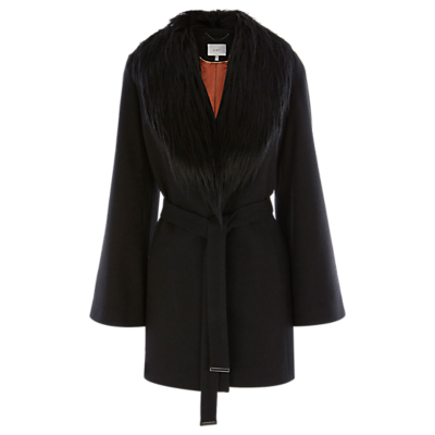 Argun Coat, Black - pattern: plain; style: single breasted; length: mid thigh; predominant colour: black; occasions: casual, creative work; fit: tailored/fitted; fibres: wool - mix; waist detail: belted waist/tie at waist/drawstring; sleeve length: long sleeve; sleeve style: standard; collar: fur; collar break: low/open; pattern type: fabric; texture group: woven bulky/heavy; season: a/w 2016