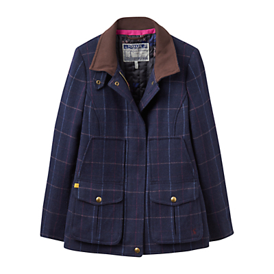Fieldcoat Semi Fitted Tweed Coat, Navy Check - pattern: checked/gingham; length: standard; style: single breasted; predominant colour: navy; secondary colour: stone; occasions: casual; fit: straight cut (boxy); fibres: wool - mix; collar: shirt collar/peter pan/zip with opening; sleeve length: long sleeve; sleeve style: standard; collar break: high; pattern type: fabric; texture group: woven bulky/heavy; season: a/w 2016; wardrobe: highlight