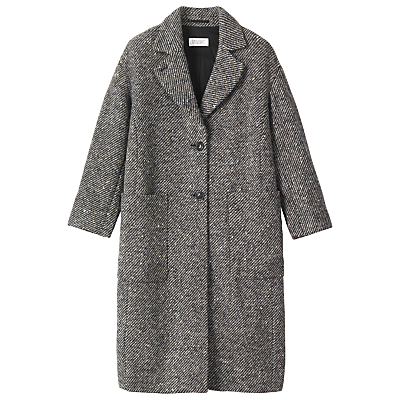 Soft Wool Lavinia Coat, Black/Grey - pattern: plain; fit: loose; style: single breasted; collar: standard lapel/rever collar; predominant colour: mid grey; occasions: casual; fibres: wool - mix; length: below the knee; sleeve length: long sleeve; sleeve style: standard; collar break: medium; pattern type: fabric; texture group: woven bulky/heavy; wardrobe: basic; season: a/w 2016