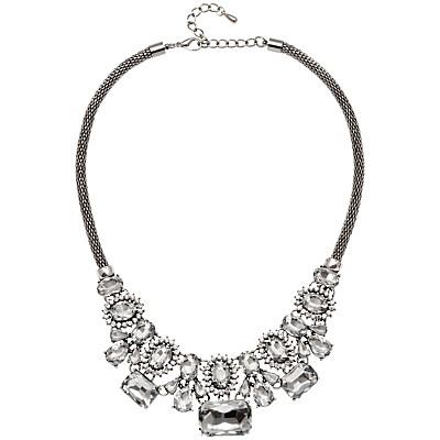 Crystal Beads Statement Mesh Necklace, Silver/Clear - predominant colour: silver; occasions: evening, occasion; length: mid; size: large/oversized; material: chain/metal; finish: metallic; embellishment: crystals/glass; style: bib/statement; season: a/w 2016
