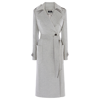Investment Wool Coat, Grey - pattern: plain; style: wrap around; fit: slim fit; collar: standard lapel/rever collar; length: calf length; predominant colour: light grey; occasions: casual; fibres: wool - 100%; waist detail: belted waist/tie at waist/drawstring; sleeve length: long sleeve; sleeve style: standard; collar break: medium; pattern type: fabric; texture group: woven bulky/heavy; season: a/w 2016