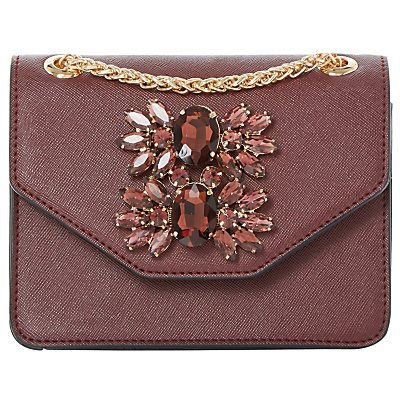 Samia Micro Clutch Bag - predominant colour: burgundy; secondary colour: gold; occasions: evening, occasion; type of pattern: standard; style: clutch; length: hand carry; size: standard; material: faux leather; pattern: plain; finish: plain; embellishment: jewels/stone; season: a/w 2016; wardrobe: event