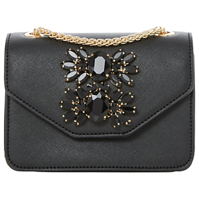Samia Micro Clutch Bag - predominant colour: black; occasions: evening, occasion; type of pattern: standard; style: clutch; length: hand carry; size: standard; material: faux leather; pattern: plain; finish: plain; embellishment: jewels/stone; season: a/w 2016; wardrobe: event