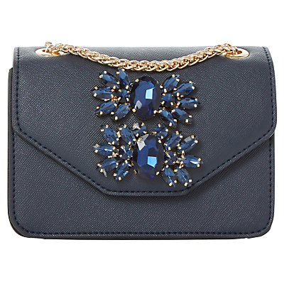 Samia Micro Clutch Bag - predominant colour: navy; secondary colour: gold; occasions: evening, occasion; type of pattern: standard; style: clutch; length: hand carry; size: standard; material: faux leather; pattern: plain; finish: plain; embellishment: jewels/stone; season: a/w 2016; wardrobe: event