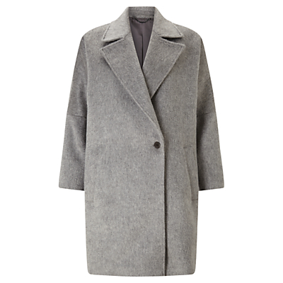 Soft Cocoon Coat, Pale Grey - pattern: plain; fit: loose; collar: standard lapel/rever collar; length: mid thigh; predominant colour: mid grey; occasions: casual, creative work; style: cocoon; fibres: wool - mix; sleeve length: long sleeve; sleeve style: standard; collar break: medium; pattern type: fabric; texture group: woven bulky/heavy; wardrobe: basic; season: a/w 2016
