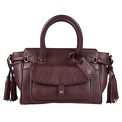 Stitch Pocket Leather Tote Bag - predominant colour: burgundy; occasions: casual, creative work; type of pattern: standard; style: tote; length: handle; size: standard; material: leather; embellishment: tassels; pattern: plain; finish: plain; season: a/w 2016