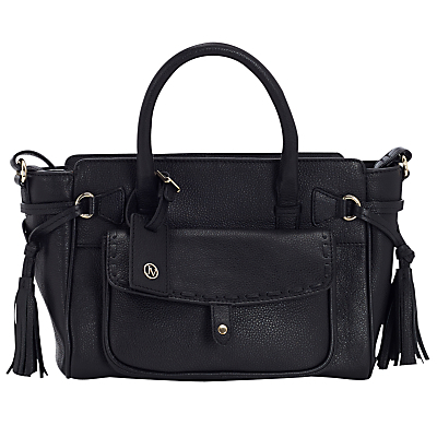 Stitch Pocket Leather Tote Bag - predominant colour: black; occasions: casual, work, creative work; type of pattern: standard; style: tote; length: handle; size: standard; material: leather; embellishment: tassels; pattern: plain; finish: plain; wardrobe: investment; season: a/w 2016