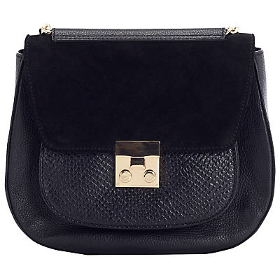 Lock Saddle Shoulder Bag, Black - predominant colour: black; occasions: casual, work, creative work; type of pattern: standard; style: saddle; length: across body/long; size: standard; material: suede; pattern: plain; finish: plain; wardrobe: basic; season: a/w 2016