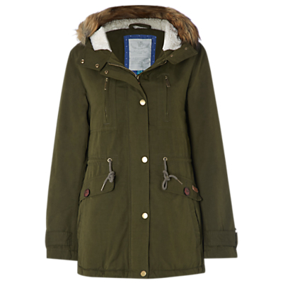 Shadow Parka, Green - pattern: plain; collar: funnel; fit: loose; style: parka; back detail: hood; length: mid thigh; secondary colour: tan; predominant colour: khaki; occasions: casual; fibres: cotton - mix; waist detail: belted waist/tie at waist/drawstring; sleeve length: long sleeve; sleeve style: standard; texture group: cotton feel fabrics; collar break: high; pattern type: fabric; embellishment: fur; season: a/w 2016; wardrobe: highlight; embellishment location: neck, trim