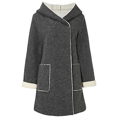 Snow Catcher Coat, Grey - collar: funnel; style: wrap around; length: mid thigh; predominant colour: charcoal; secondary colour: light grey; occasions: casual; fit: straight cut (boxy); fibres: polyester/polyamide - mix; sleeve length: long sleeve; sleeve style: standard; collar break: high; pattern type: fabric; pattern: colourblock; texture group: woven bulky/heavy; season: a/w 2016; wardrobe: highlight