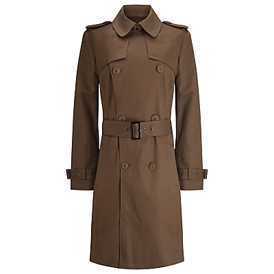 Bonded Trench Coat - pattern: plain; style: trench coat; predominant colour: khaki; occasions: work; fit: tailored/fitted; fibres: cotton - stretch; length: below the knee; collar: shirt collar/peter pan/zip with opening; waist detail: belted waist/tie at waist/drawstring; sleeve length: long sleeve; sleeve style: standard; texture group: technical outdoor fabrics; collar break: high; pattern type: fabric; season: a/w 2016