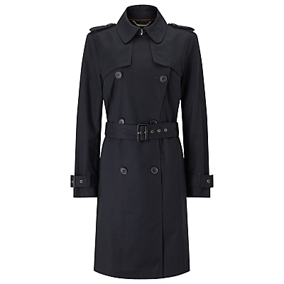 Bonded Trench Coat - pattern: plain; style: trench coat; predominant colour: black; occasions: work; fit: tailored/fitted; fibres: cotton - stretch; length: below the knee; collar: shirt collar/peter pan/zip with opening; waist detail: belted waist/tie at waist/drawstring; sleeve length: long sleeve; sleeve style: standard; texture group: technical outdoor fabrics; collar break: high; pattern type: fabric; season: a/w 2016
