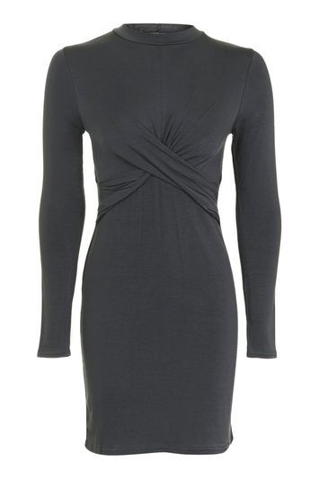 Twist Front Bodycon Dress - style: shift; length: mini; pattern: plain; neckline: high neck; waist detail: flattering waist detail; predominant colour: charcoal; occasions: casual, creative work; fit: body skimming; fibres: viscose/rayon - stretch; sleeve length: long sleeve; sleeve style: standard; pattern type: fabric; texture group: jersey - stretchy/drapey; trends: glossy girl, tomboy girl; wardrobe: basic; season: a/w 2016