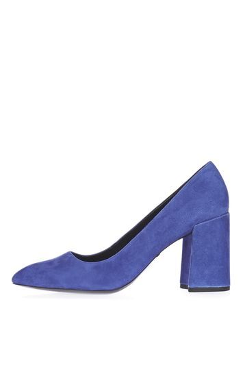 Gram Flared Heel Shoes - predominant colour: purple; material: suede; heel height: mid; heel: block; toe: pointed toe; style: courts; finish: plain; pattern: plain; occasions: creative work; trends: pretty girl; season: a/w 2016; wardrobe: highlight
