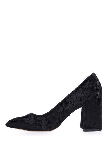 Gram Flared Heel Shoes - predominant colour: black; occasions: evening, work, creative work; material: suede; heel height: mid; heel: block; toe: pointed toe; style: courts; finish: plain; pattern: plain; wardrobe: investment; season: a/w 2016