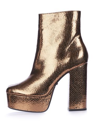 Hot Stuff Platform Boots - predominant colour: gold; occasions: evening; material: leather; heel: block; toe: round toe; boot length: ankle boot; style: standard; finish: plain; pattern: plain; heel height: very high; shoe detail: platform; season: a/w 2016; wardrobe: event