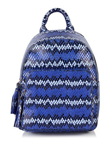 Mini Blue Snake Backpack By Skinnydip - secondary colour: white; predominant colour: royal blue; occasions: casual; type of pattern: light; style: rucksack; length: rucksack; size: standard; material: plastic/rubber; pattern: animal print; finish: plain; season: a/w 2016
