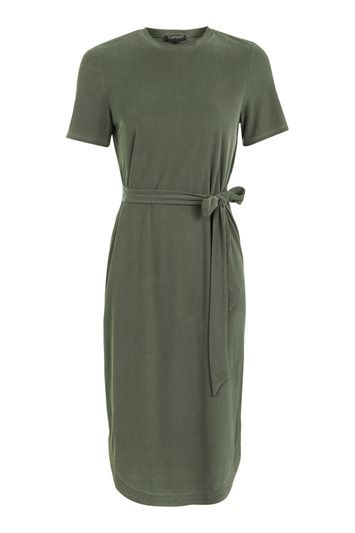 Rib Belted Midi Dress - style: t-shirt; pattern: plain; waist detail: belted waist/tie at waist/drawstring; predominant colour: khaki; occasions: casual; length: on the knee; fit: body skimming; fibres: polyester/polyamide - mix; neckline: crew; sleeve length: short sleeve; sleeve style: standard; texture group: jersey - clingy; pattern type: fabric; trends: chic girl; wardrobe: basic; season: a/w 2016
